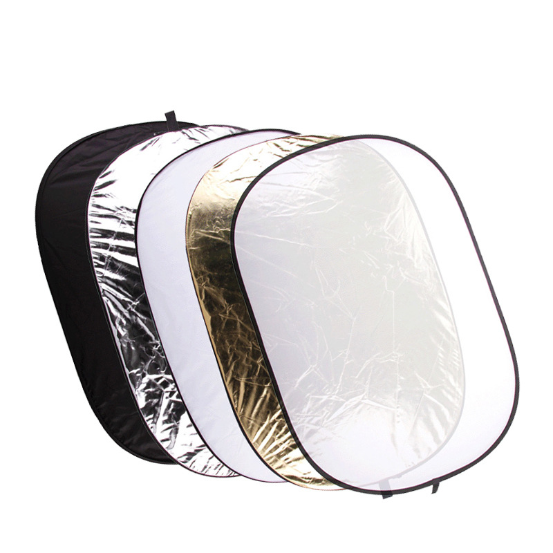 цена 100x150cm Five-in-one Photography Reflector Folding Portable Oval Golden Silver Gold White Translucent Fotografia Accesorios