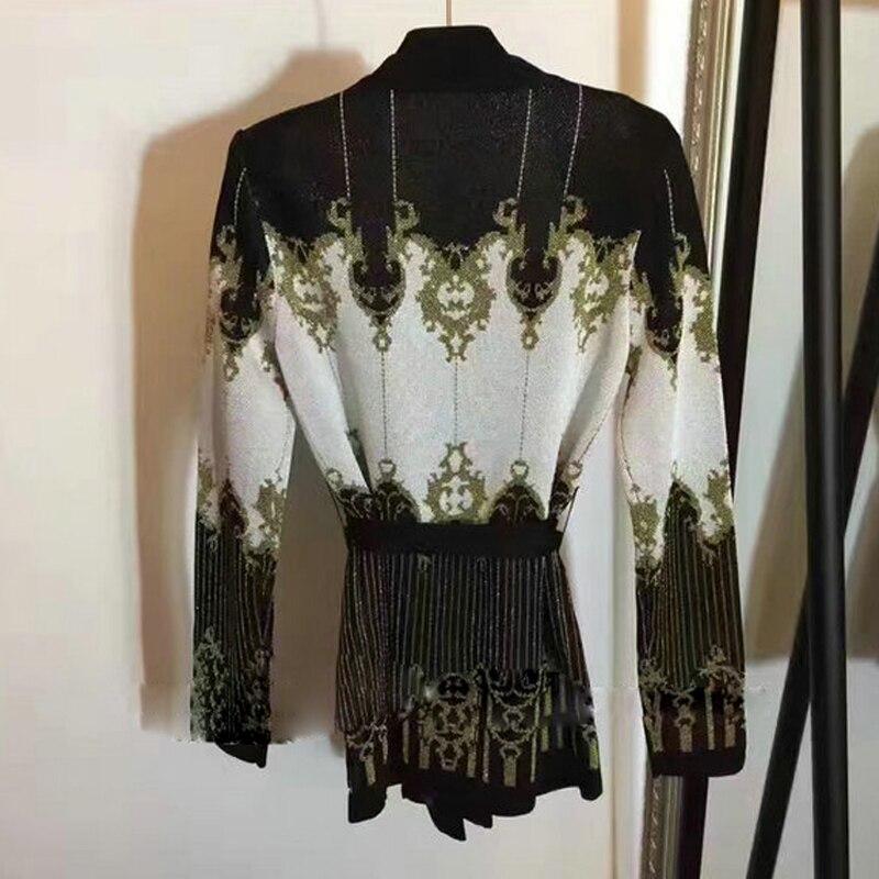 Externe Pull Tricoter Veste Manteau Baroque De Fil Hiver Mode Or Haute Automne Motif Femmes Qualité Cardigan Designer À 2018 fZqwU6