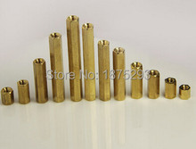 100 unids M3 * 10 Brass Hex Standoff Spacer Doble paso Columna M3 M3 Mujer Mujer x 10mm