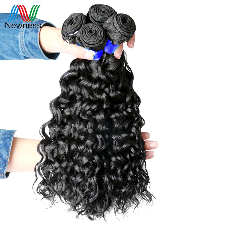 Newness Hair 4 Bundles Water Wave Indian Hair Extensions 100% Human Hair Weaving Natural Color Water Wave Bundles 4pcs