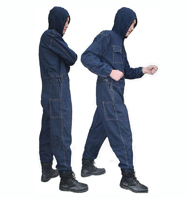 Mens Overalls Denim Work Clothing Hooded Coveralls Plus Size Labor Overalls  For Worker Machine Welding Auto b64414d36934