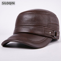 SILOQIN Winter Men's Genuine Leather Thicken Warm Baseball Caps Flat Top Cap Adjustable Size Snapback Cowhide Dad's Earmuffs Hat