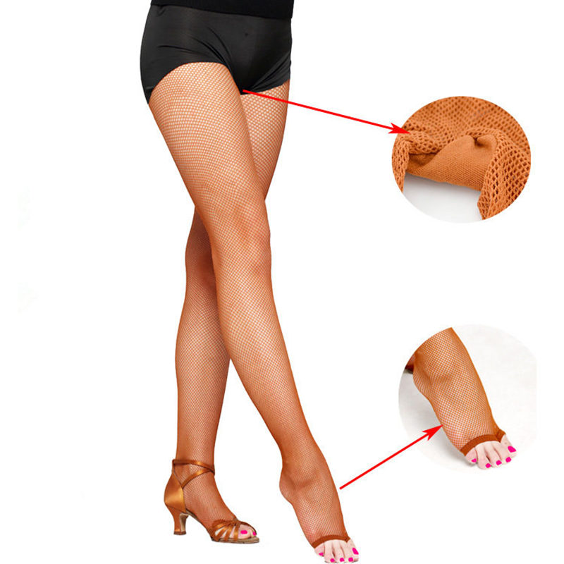 Women Sexy Latin Dance Tights Mesh Pantyhose Slim Dance Latin Toe Fishnet Stockings Black Brown Skin Dancer Professional Hosiery
