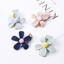 4 piece set baby hairpin solid color flower children cute hair clip headwear fashion accessories girl