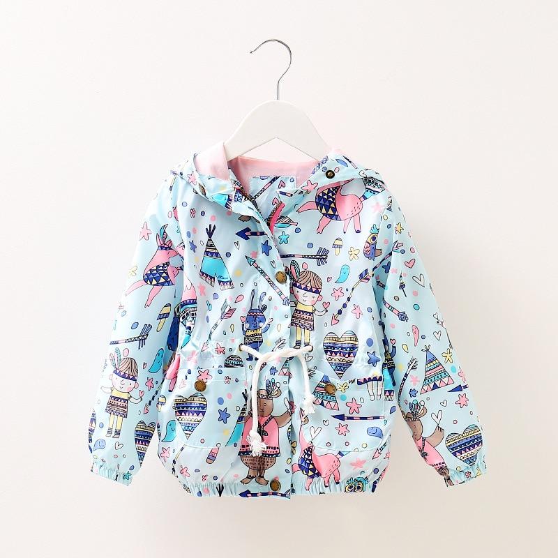2017 New Autumn Baby Coat And Jacket For Girl Cartoon Graffiti Hooded Windbreaker For Girls Full Sleeve Toddler Outerwear