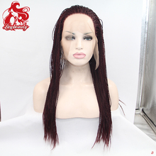 fast shipping 99j burgundy braided lace front wigs quality synthetic lace front wig micro braided wigs for black women