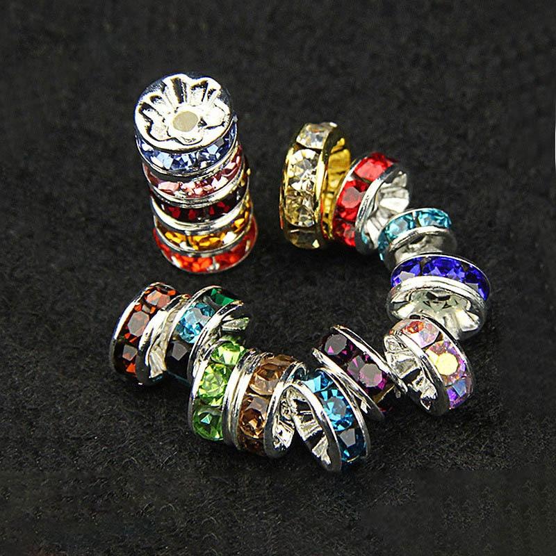 50 peças/lote 8mm strass rondelles cristal grânulo solto espaçador charme grânulos para diy artesanal jóias descobertas fazendo suprimentos