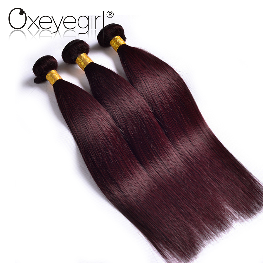 Oxeye girl Burgundy Bundles 99j Color Brazilian Hair Weave Bundles Straight Human Hair Extensions 3 Bundle Deals None Remy