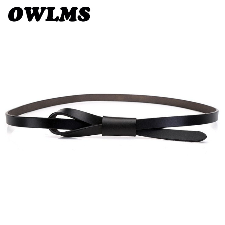 Newest Genuine Leather   Belts   ladies cowhide   belt   smooth bow buckle thin soft leather fashion   belts   for women knot casual dress
