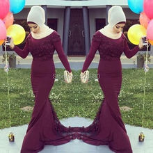Gorgeous Burgundy Long Sleeve Hijab Arabic Turkish Muslim Evening Prom Dresses Lace Applique High Neck Vestidos de Fiesta 2017