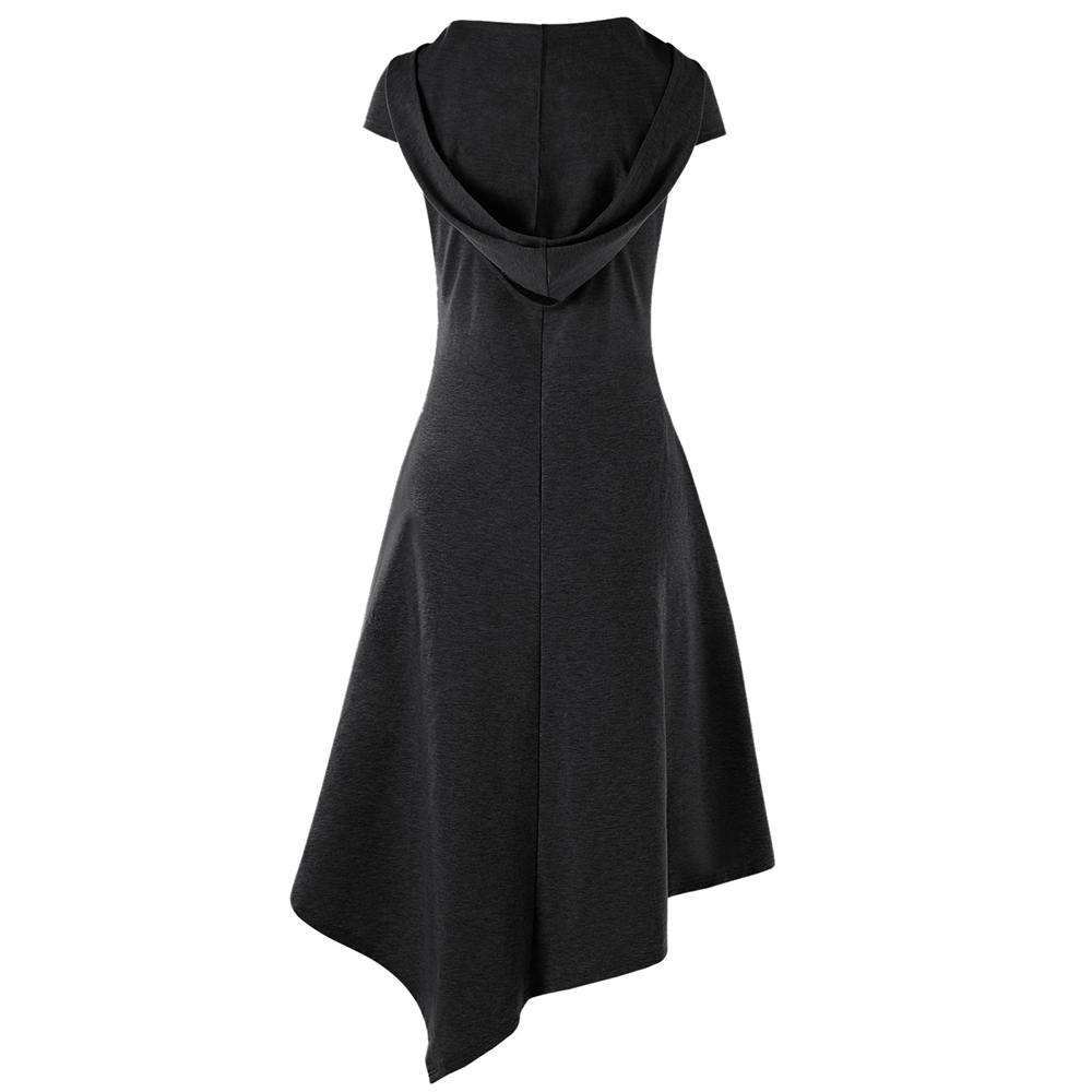 Gothic Style Asymmetrical Hooded Cut Out Women Dress Summer Hooded Short Sleeves Dresses Vestido De Festa 4 Colors 4