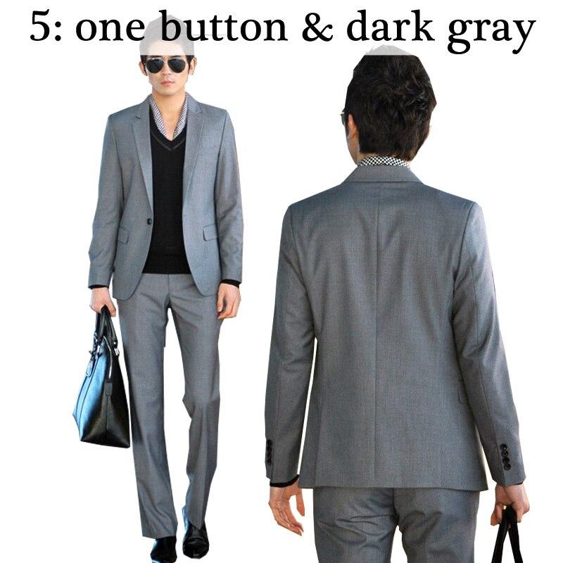 Для мужчин костюмы Тонкий Высокое качество смокинги Марка мужская деловая обувь модные Бизнес одежда высшего качества и штаны, лидер продаж,, B006 - Цвет: 5