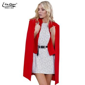 35514908eab Женщины зимние пальто 2016 Eliacher бренд шикарный элегантных женщин  шерстяное пальто мода открыть стежка смеси Большой