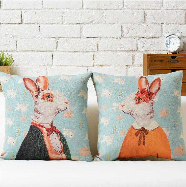Bunny mr rabbit and girls cute cartoon animal cotton for Rabbit decorations home