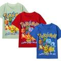 100% Traje de Algodón 2016 de Los Niños de Dibujos Animados Ropa de Niño Ropa de Algodón Del O-cuello Camisetas Pokemon Niños Manga Corta Camiseta y Tops