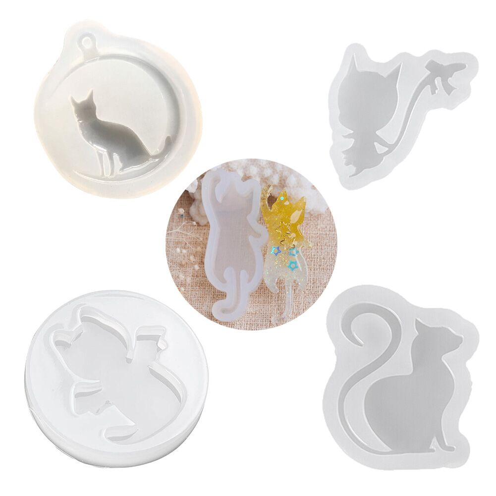 1Pcs Lovely Silicone Resin Mold For Jewelry Making Cat Animal Hand Craft DIY Tools White UV Resin Jewelry Liquid Mold 5 Styles!! animal head modeling silicone fondant mold