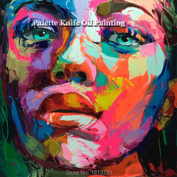 Hand painted Francoise Nielly Palette knife portrait Face Oil painting Character figure canva wall Art picture15-39