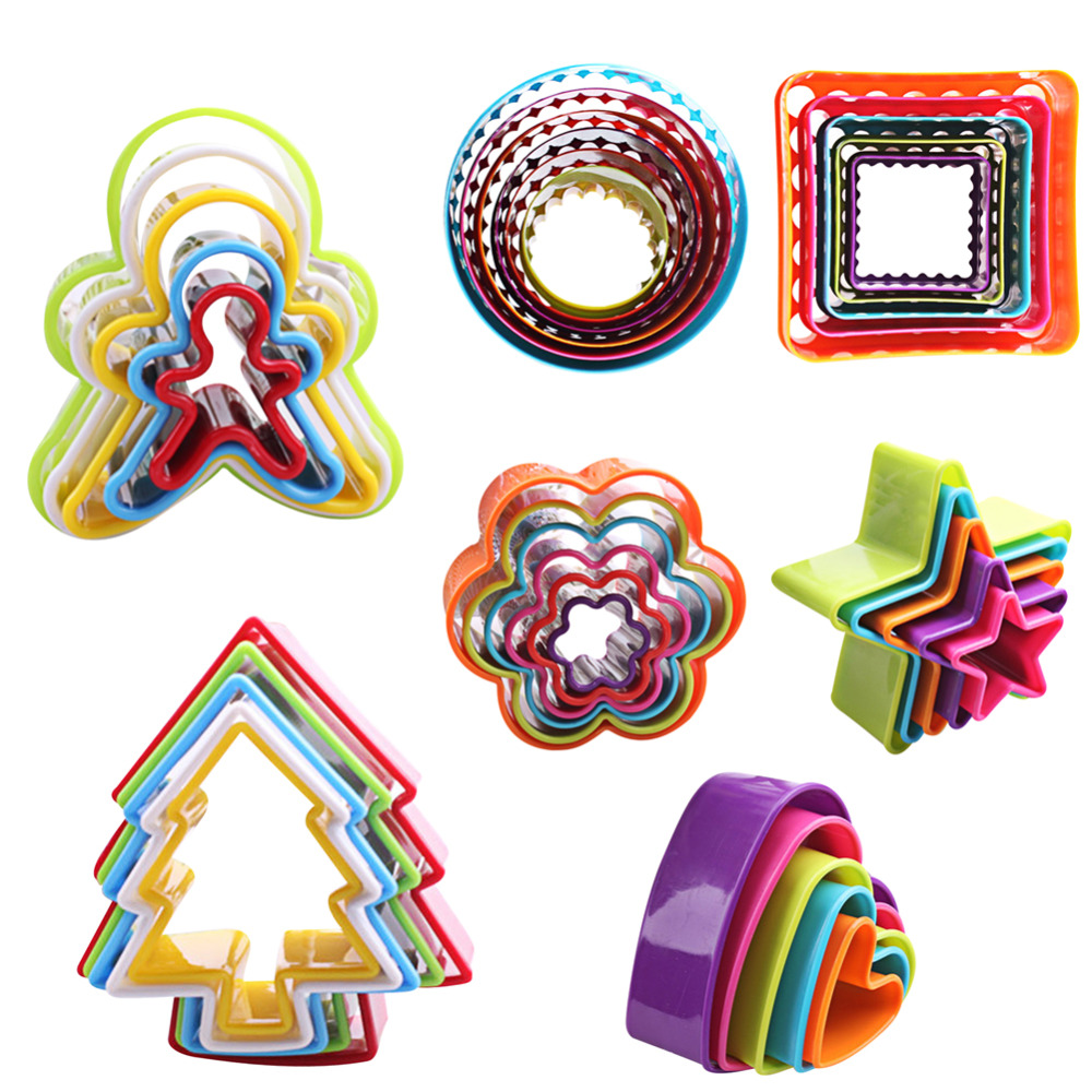 5pcsset Cookies Cutter Frame Fondant Biscuit Cake Mould DIY Star Chirstmas Tree Round Heart Flower Mold Cookie Maker
