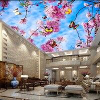 Beibehang Niestandardowy duży salon holu sufitu tapety mozaiki brzoskwinia dachu sufitu sufitu fototapety tapety ścienne malowidła