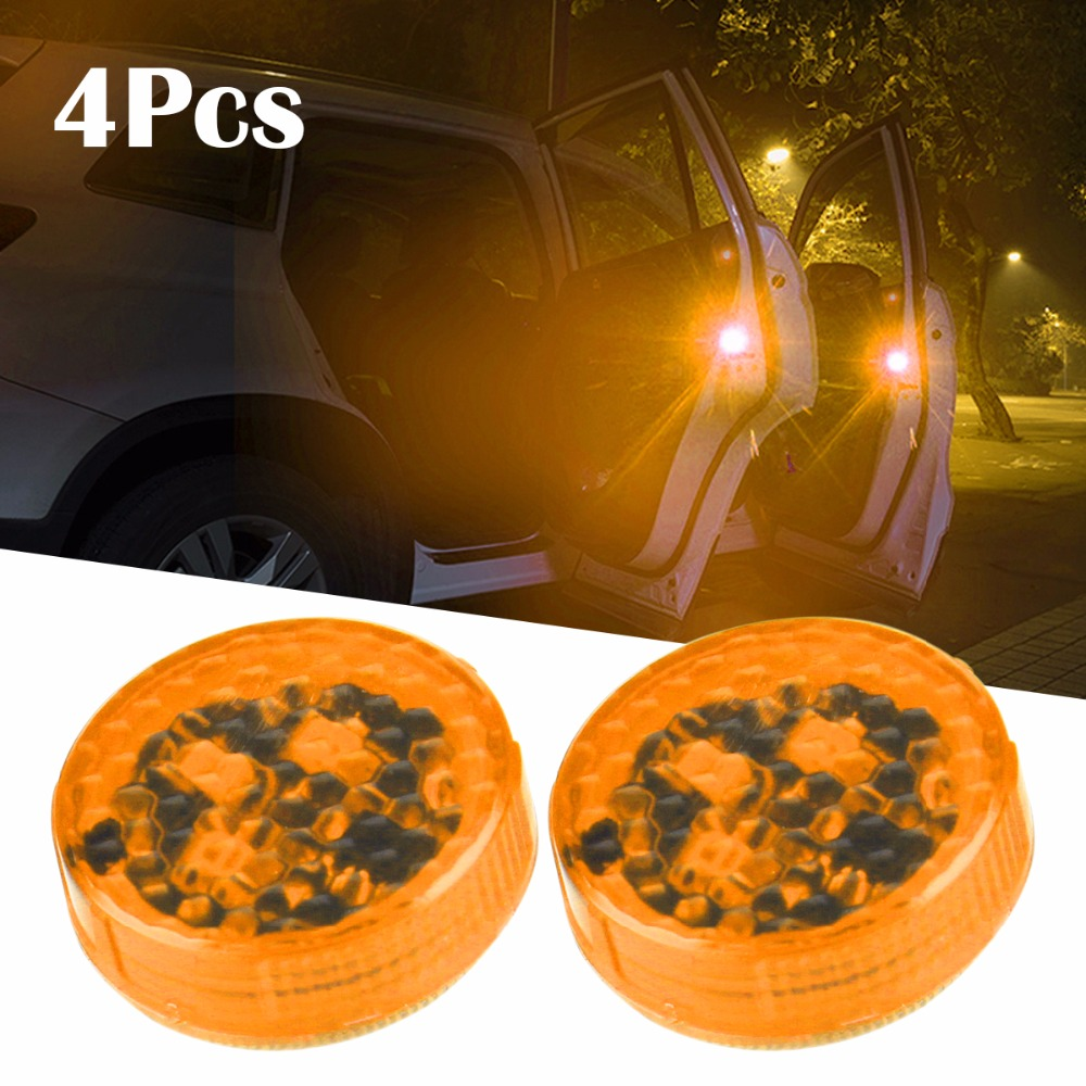 4PCS Car-Styling Decorative Lihgt Anti Collision Car Door Light Strobe Light Warning Light For BMW Toyota Skoda Golf4 Yellow