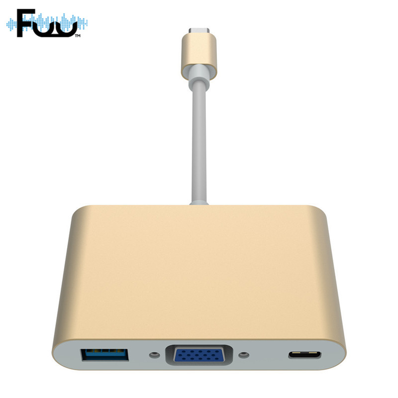 USB 3.0 Type C To VGA USB Adapter Three In One Multiport Adapter Laptop PC Cable Connector Supply Data Video Output Projector