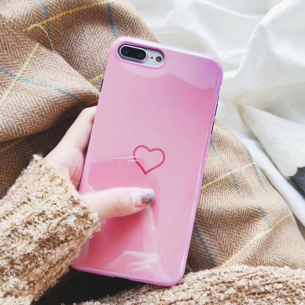 Blu Ray Phone Case For iPhone 6 6S Plus Hot Korean Heart Mirror Soft TPU Phone Back Cover Cases Best Gifts in Fitted Cases from Cellphones Telecommunications