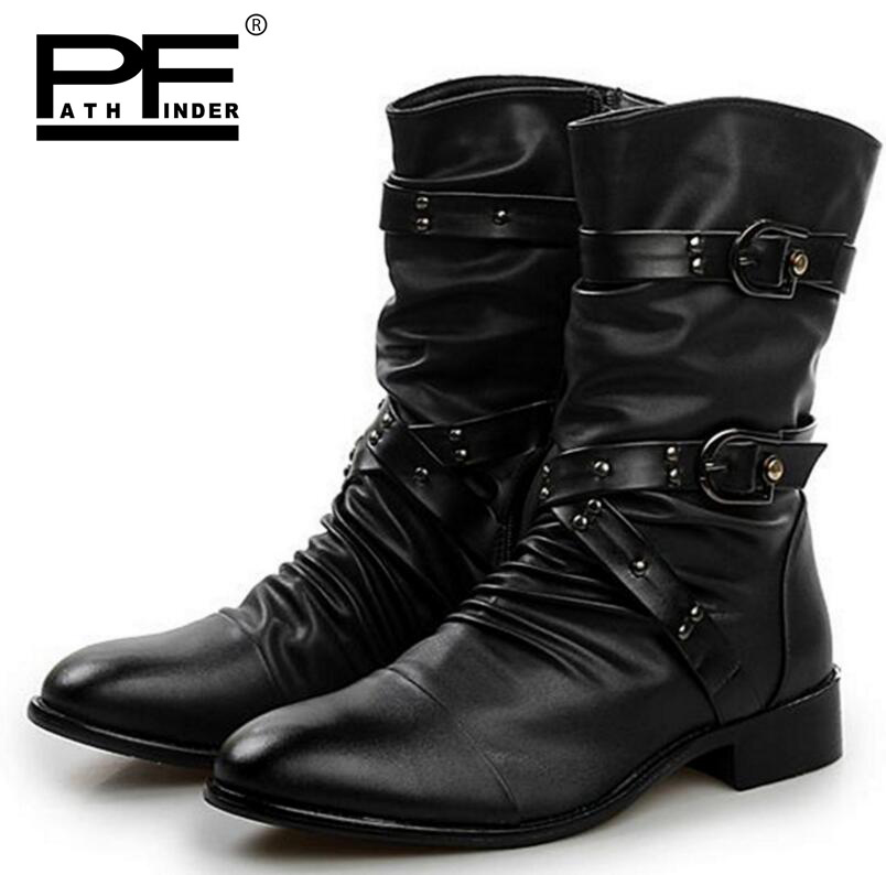 Pathfind Hot sale Men Leather boots winter Fur Warm black ankle Martin  Tooling military shoes Mens Outdoor Shoes Retro male Boot cc4088987208