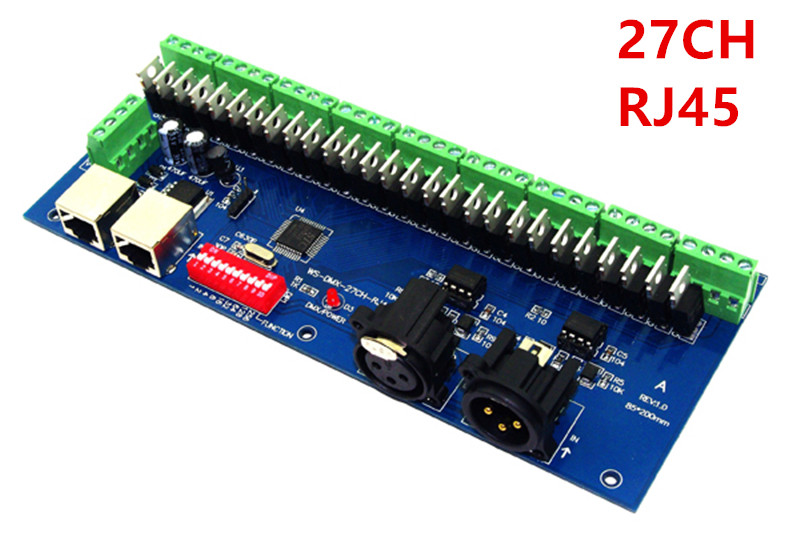 wholesale 27CH Channel with RJ45 9 group max 3A DMX512 XPL 3P LED Decoder controller for DC12V-24V RGB led module strip lights dhl free shipping 18ch dmx512 controller rgb dmx512 decoder each channel max 3a have rj45 for led strip light led rgb module