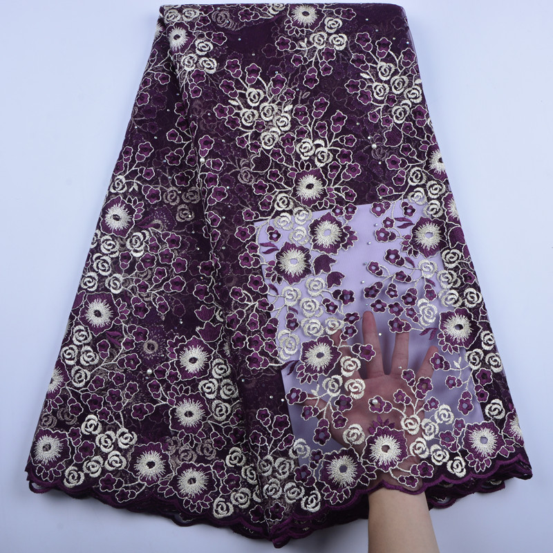 Nigeria Wedding African French Tulle Lace Fabric With Stones High Quality African Lace Fabric A1378