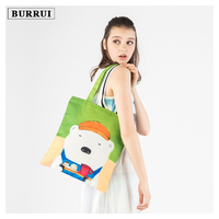 BURRUI Cartoon Style Women Canvas Bag Animal Printing Handbags Shoulder Bag Girl Beach Bag Fashion Casual Shopping Handbag