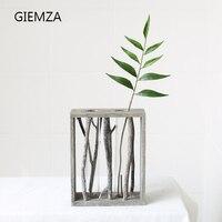 Aqumotic Test Tube Vase Gray Tree Natural Branch Wood Handmade Vase Tube Shaped Glass Tube Vase
