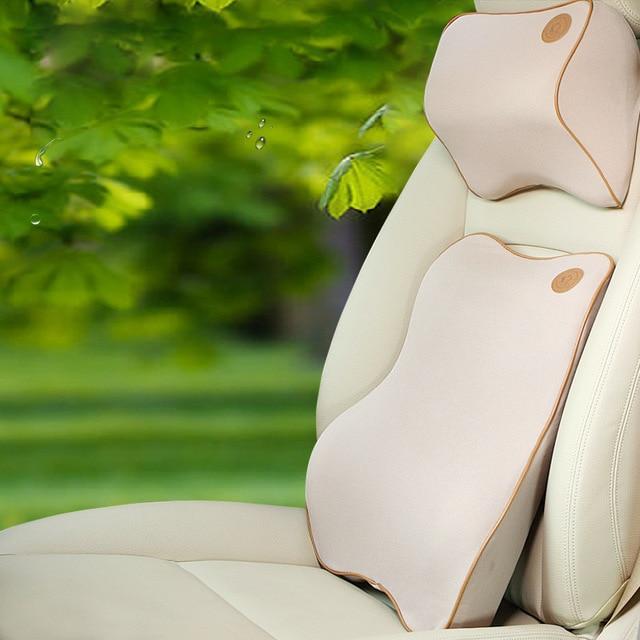 Automotive headrest and waist cushion set car pillow seat memory cotton car waist cushion support and car neck pillow set