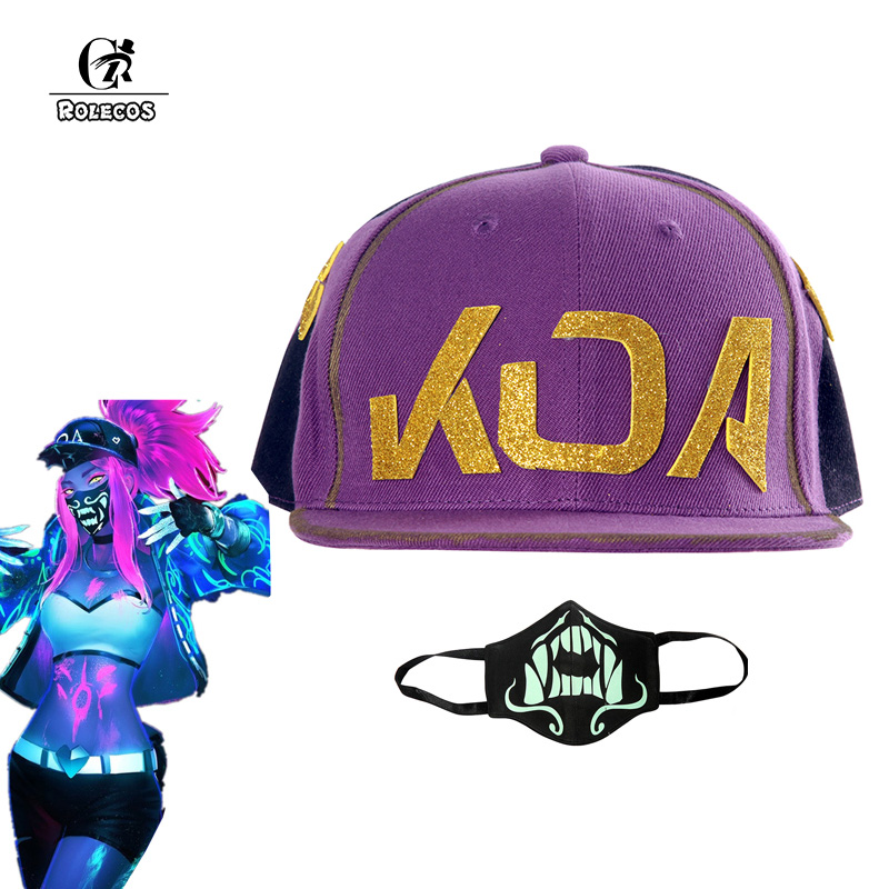 ROLECOS Game LOL KDA Akali Cosplay Hat Mask LOL K/DA Akali Cosplay Mask Props for Men Women Cosplay Hat Mask