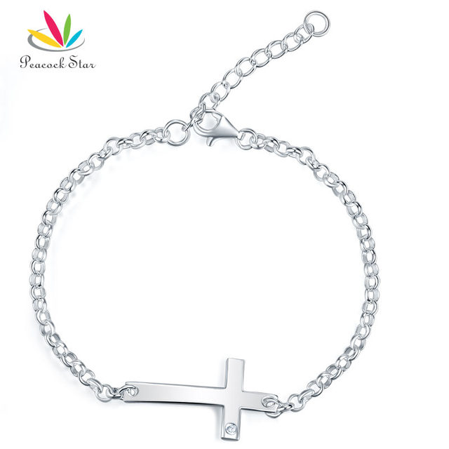 Pea Star Kids Gift Children Jewelry Solid 925 Sterling Silver Cross Bracelet Cfb8008