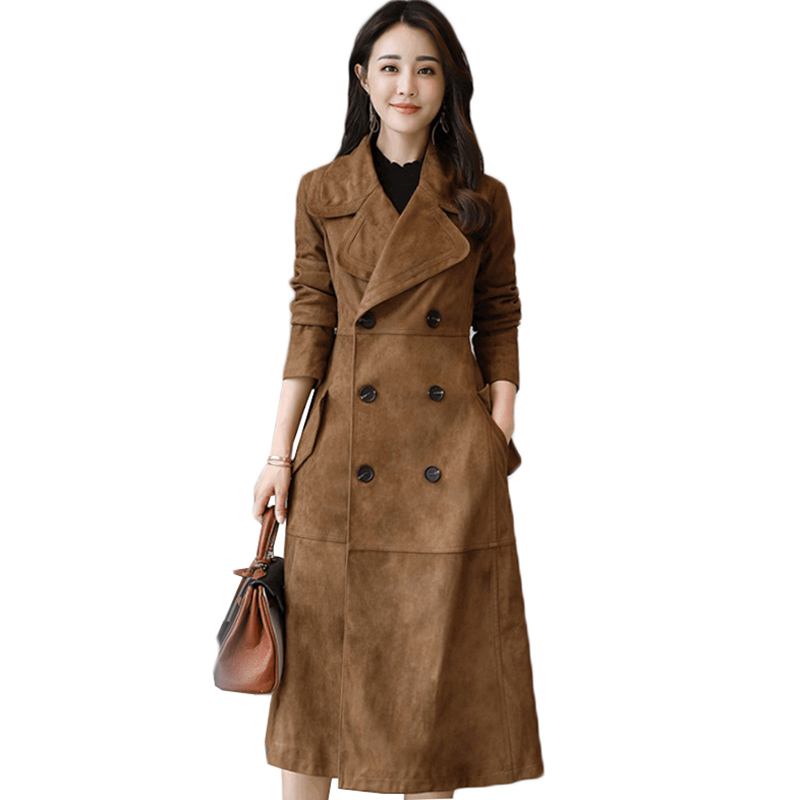 Women Long Trench Coat 2018 New Fashion Double breasted Suede Outwear Slim Large size Casual Tops