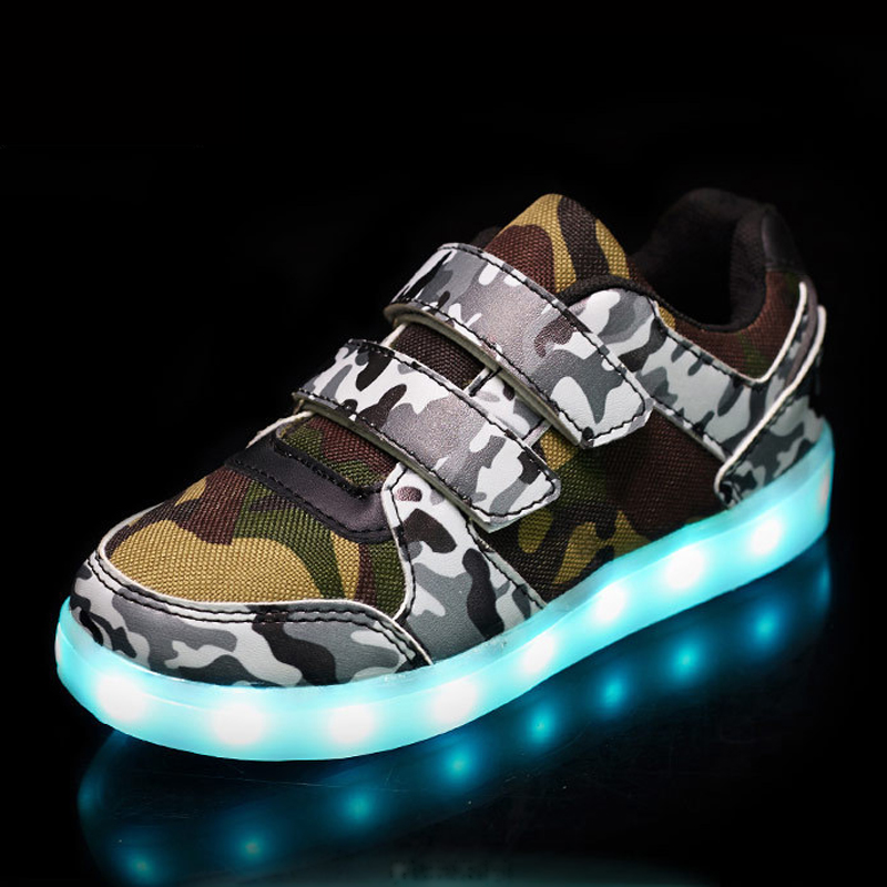 Eur25-37 // USB Basket Led Children Lighting Shoes With Light Up for Girls Luminous Sneakers Glowing Shoe enfant Boy Kids