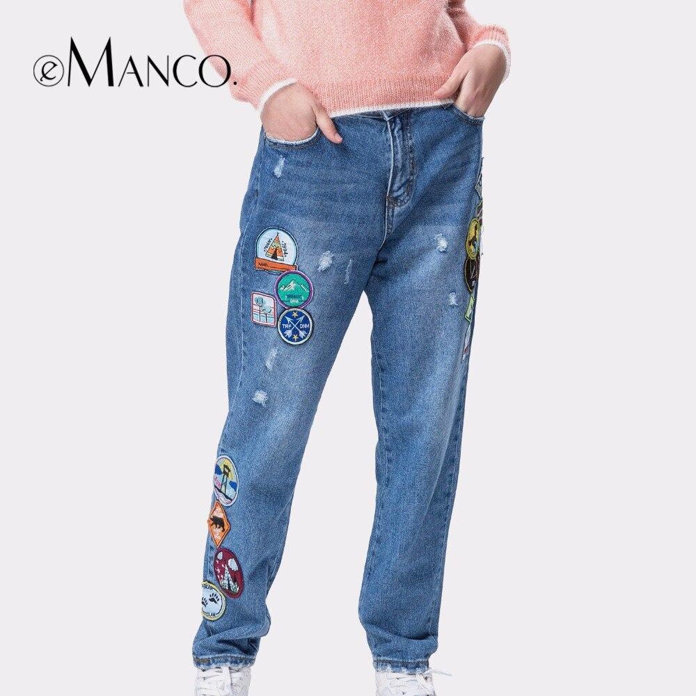 e-Manco Store e-Manco 2017 Jeans for women slim cartoon patch mujer washed blue pants straight high waist denim trousers calca jeans feminino