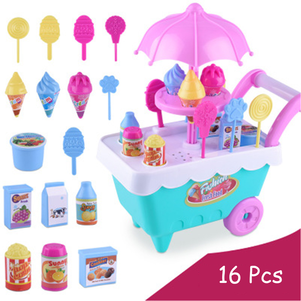 Small Ice Cream Carts Girl Mini Candy Cart Shop Pretend Play Simulation Supermarket Children's Toys Playing Home Girls Toys