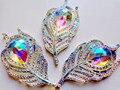 20 unids nueva moda estilo hoja pluma forma cose en los rhinestones de flatback 25*50mm borrar AB colores handsewing piedras preciosas de cristal