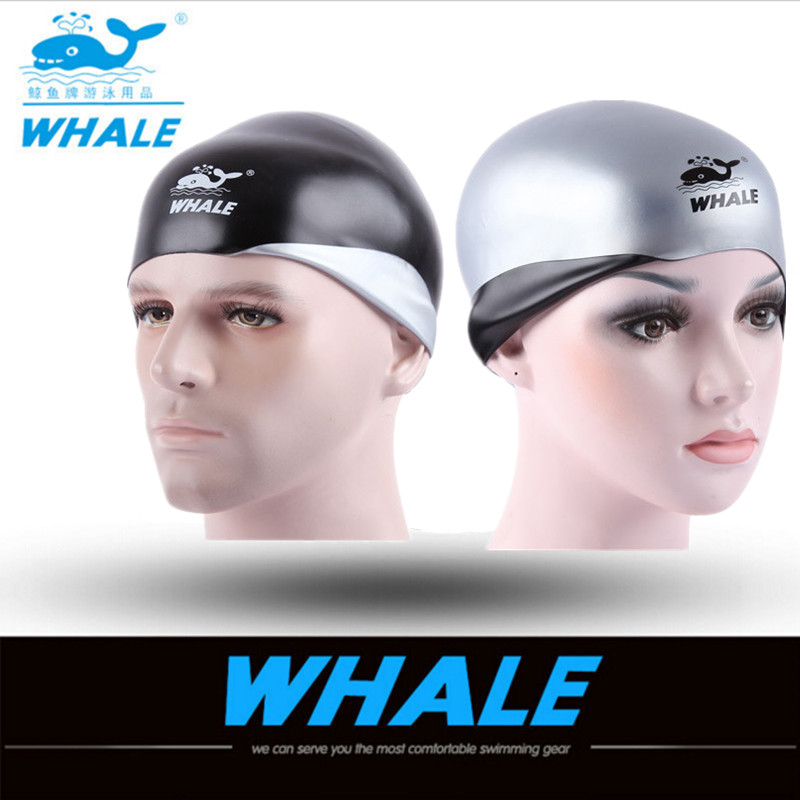 Whale brand silicone double-sided Waterproof Unisex Adult 3D swimming caps for long hair Women Men swimming pool caps swim Ear hot men women summer lycra swimming caps anti uv sunscreen nylon mask facekini head ear long hair protection diving hats i