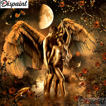 Dispaint Full Square/Round Drill 5D DIY Diamond Painting Angel couple Embroidery Cross Stitch 3D Home Decor A11446 dispaint full square round drill 5d diy diamond painting mandala scenery 3d embroidery cross stitch 5d home decor a10820
