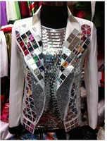 Sequins Mirrors Light Jacket new Fashion Male Singer White Rhinestone Men's Dancer Suit Outerwear DJ Stage Wear Coat Costume Top