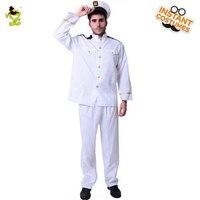 Capitão de Mar dos homens Traje Adulto Capitão de Mar Carreira Dramatização Terno Branco Para O Dia Das Bruxas do Vestido Extravagante Carnaval Mascarada Natal