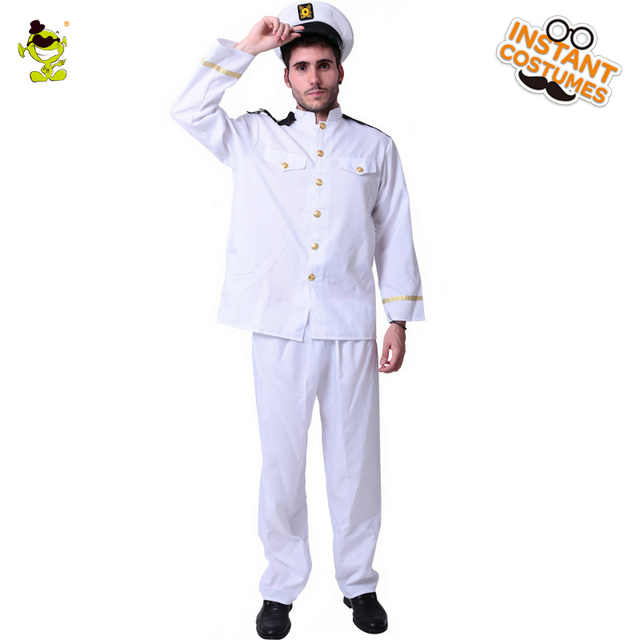 cf8bfcf7c US $23.7 20% OFF Men's Sea Captain Costume Career Role Play Fancy Dress  White Suit for Halloween Carnival Christmas Masquerade Purim Party-in  Holidays ...