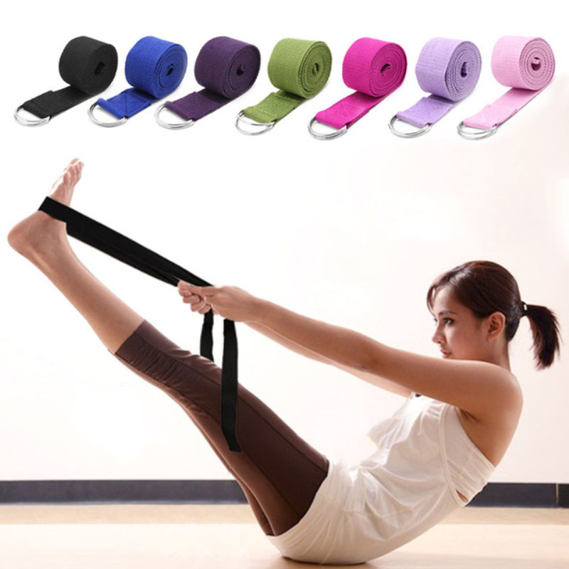 Women Yoga Stretch Strap Multi-Colors D-Ring Belt Fitness Exercise Gym Rope Figure Waist Leg Resistance Fitness Bands Yoga