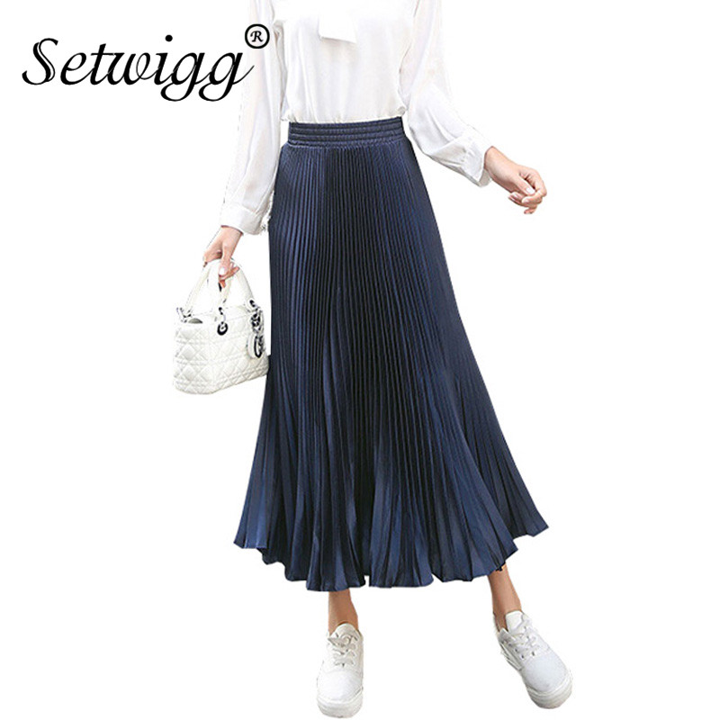setwigg 85cm shiny pleated skirts