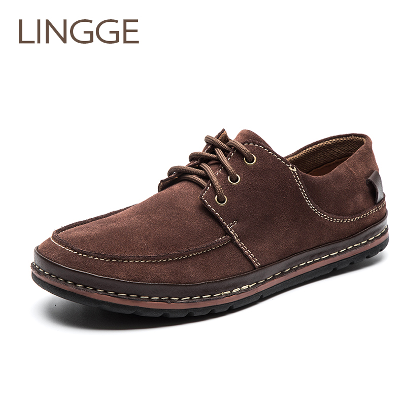 LINGGR Brand Men s Shows Suede Lace Up Shoes For Men Rubber Sole Non Slip Brown