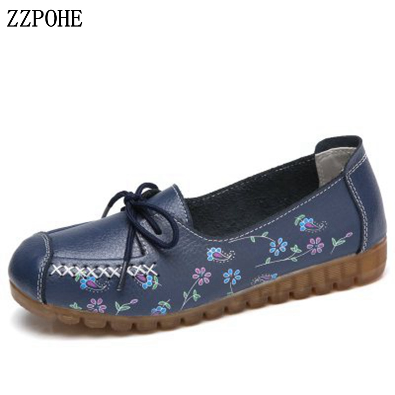 ZZPOHE 2018 Spring Autumn Woman Shoes Women Leather Slip On Flats Shoes Ladies Lace Up Casual Soft Driving Shoes Large Size 42 odetina 2017 new designer lace up ballerina flats fashion women spring pointed toe shoes ladies cross straps soft flats non slip