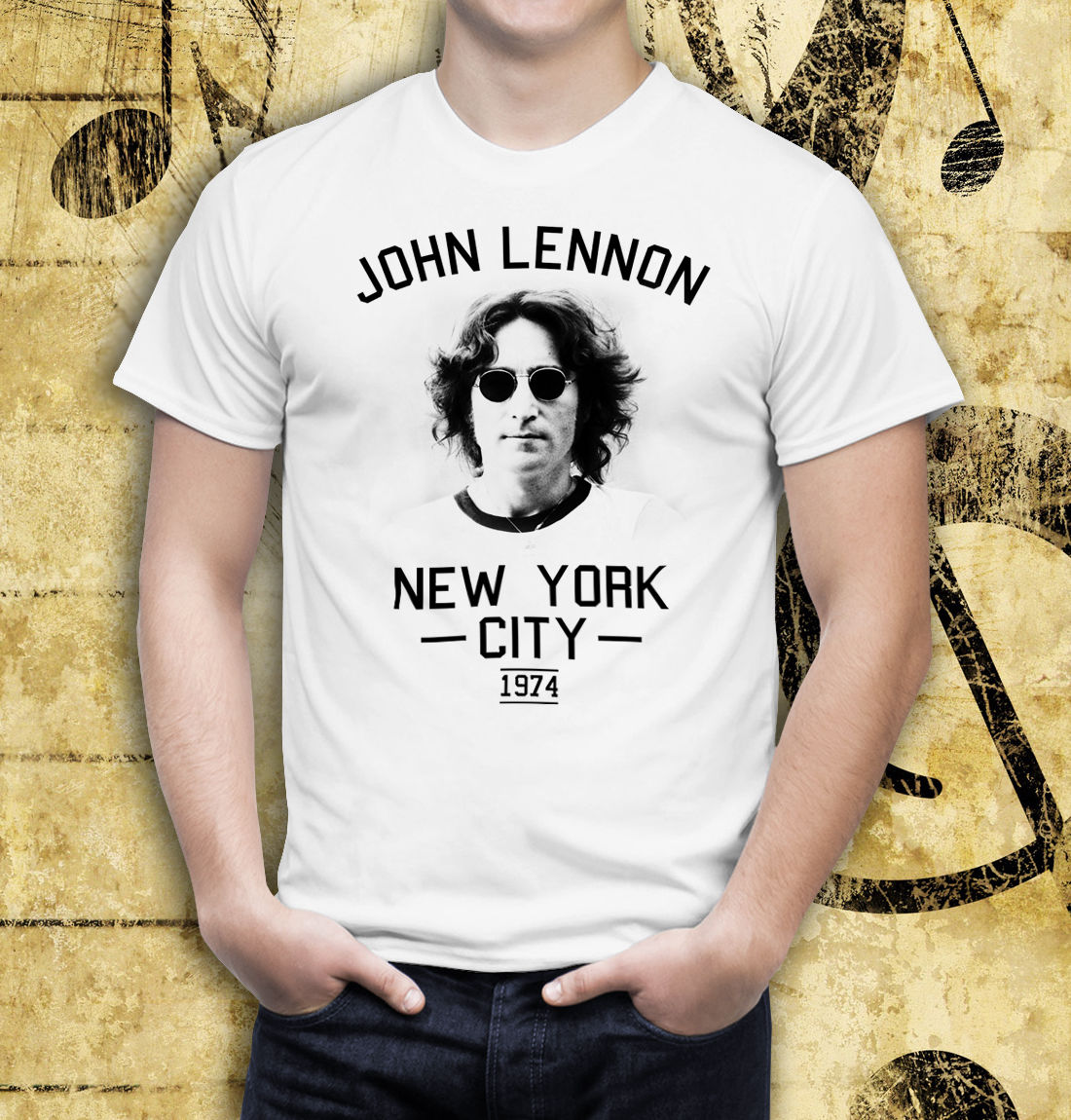 John Lennon New York City 1974 White Men Printed T Shirt Aliexpress