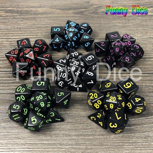 Diversão ao ar livre 7 pc/Set Dice Multi-Sided Dice d4 d6 d8 d10 d12 d10 d20 Dice Game 10 Cor cortam o jogo